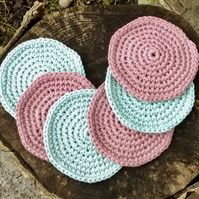 Crochet Coasters Duck Egg Blue and Pink Set of Six