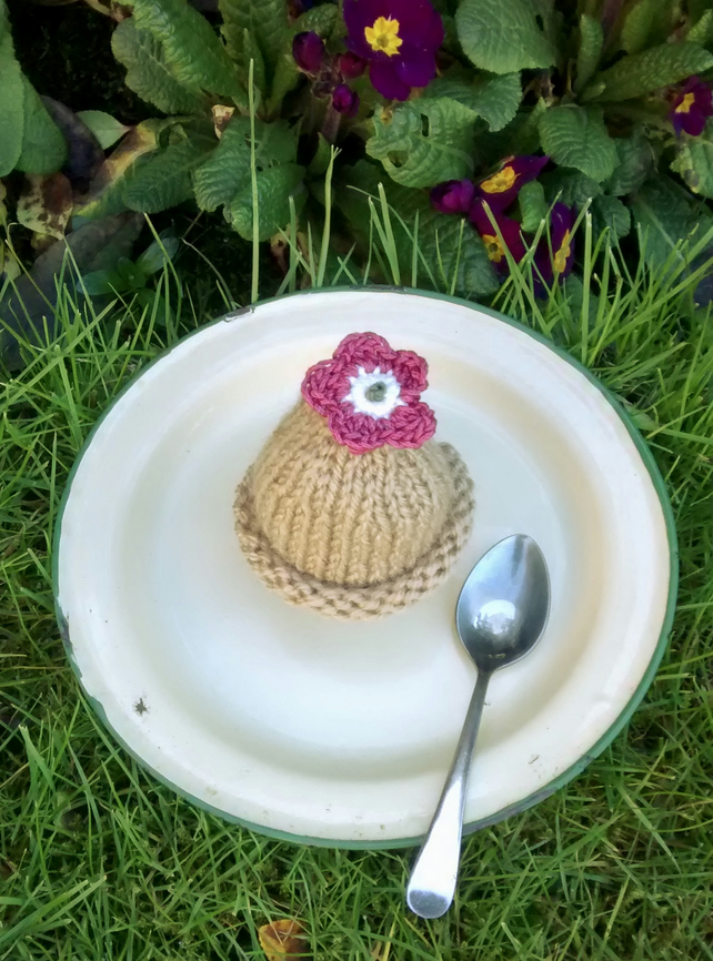 SALE - Caramel Egg Cosy with Rose Pink Flower, Easter Gift, Egg Cozy