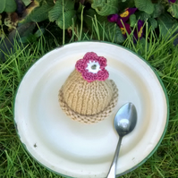 Caramel Egg Cosy with Rose Pink Flower, Easter Gift, Egg Cozy