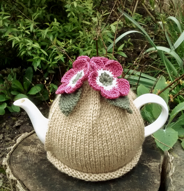 Caramel Tea Cosy with Rose Pink Flowers and Olive Green Leaves