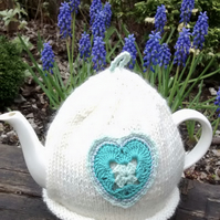 Vintage Crochet Heart Teacosy, Cream Tea Cosy