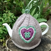 Vintage Crochet Heart Tea Cosy, Taupe Teacosy