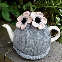 Grey Tea Cosy with Pale Peach Flowers, Knitted Tea Cosies