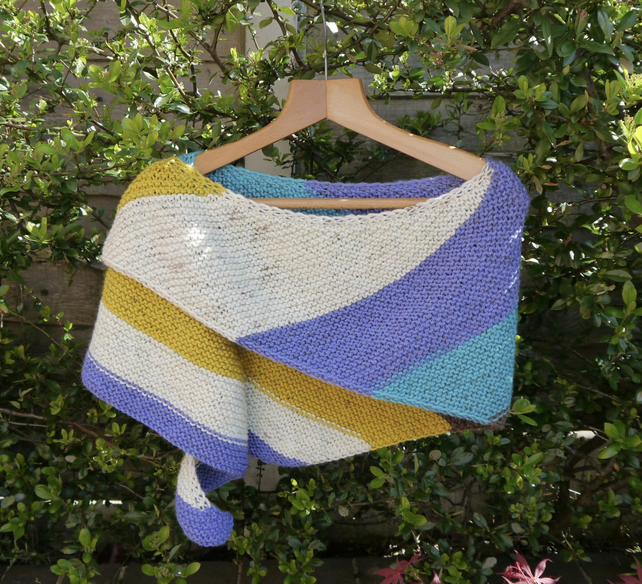Seaside Striped Chunky Wrap, Hand Knitted