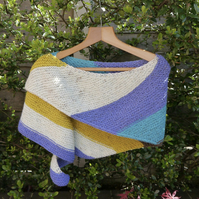 Hand Knitted Shawl, Stripy Wrap