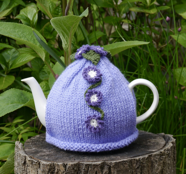 Forget-me-not Tea Cosy, Purple Crochet Flowers, Hand Knitted Tea Cosies