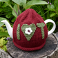 Red I Love Tea Teacosy with Green Heart
