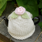 Small 1-2 Cup Teacosy with Peach Rose and Green Leaves