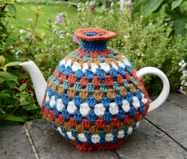 Retro Crochet Stripe Tea Cosy, Rust and Teal
