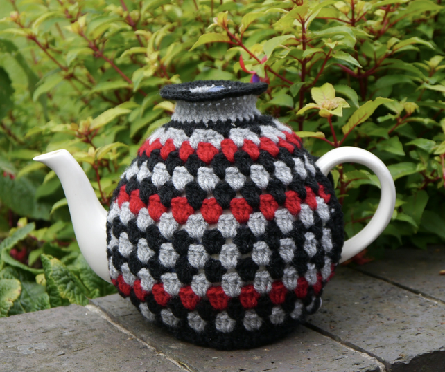 Contemporary Crochet Tea Cosy, Granny Stripes Black, Red and Grey