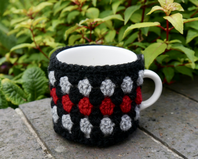 Contemporary Crochet Mug Cosy, Black, Red and Grey, Gift for Him