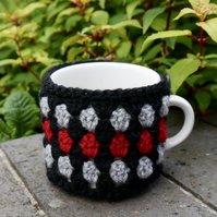 Contemporary Crochet Mug Cosy, Black, Red and Grey