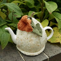 Pumpkin Tea Cosy with Pumpkin Flower and Leaf, Autumn Decor, Fall Decor