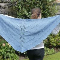 Periwinkle Blue Hand Knitted Shawl, Merino and Cotton