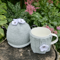 Gift for Mum Grey One Cup Tea Cosy and Mug Cosy Gift Set