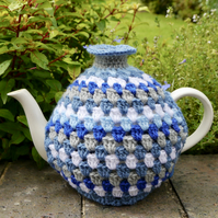 Blue Crochet Tea Cosy, Retro Stripe Teacosy