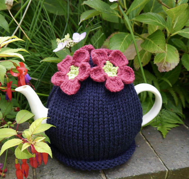 Navy Tea Cosy with Pink and Lime Crochet Flowers