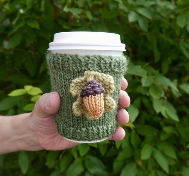 Acorn and Oak Leaf Takeaway Coffee Cup Sleeve, Autumn Gifts