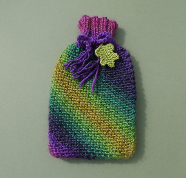 Rainbow Hot Water Bottle Cosy with Oak Leaf to fit Small 1 Litre Bottle.