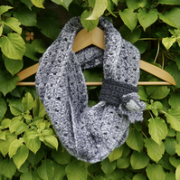 Grey Crochet Scarf with Acorn and Oak Leaf