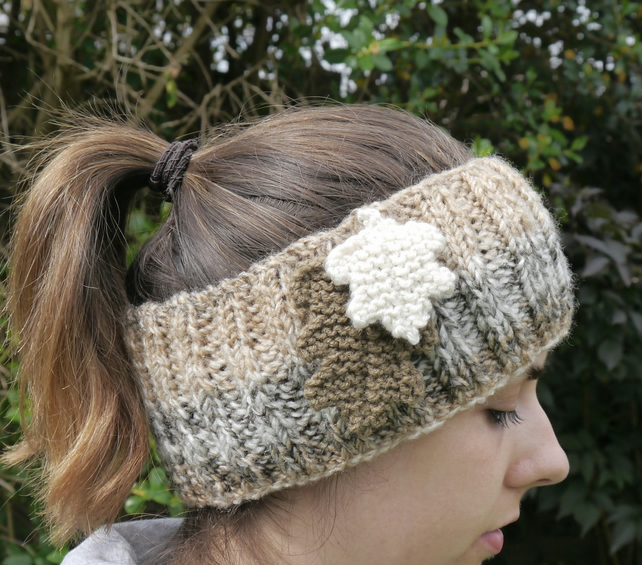 Hand Knitted Headband with Knitted Oak Leaves