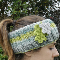 Lime and Grey Headband with Oak Leaf