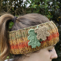 Autumn Headband with Knitted Oak Leaves, Fall Ear Warmers