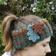 Autumn Oak Leaf Headband, Fall Ear Warmers