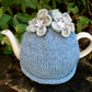 Pale Blue Tea Cosy with Grey Flowers
