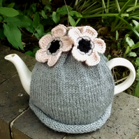 Grey Tea Cosy With Blush Flowers
