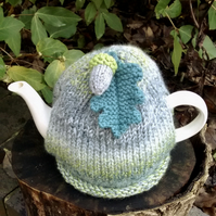 Teal and Grey Tea Cosy with Oak Leaf and Acorn, Autumn Teacosy