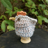 Chicken Egg Cosy, Pale Blue and Pink