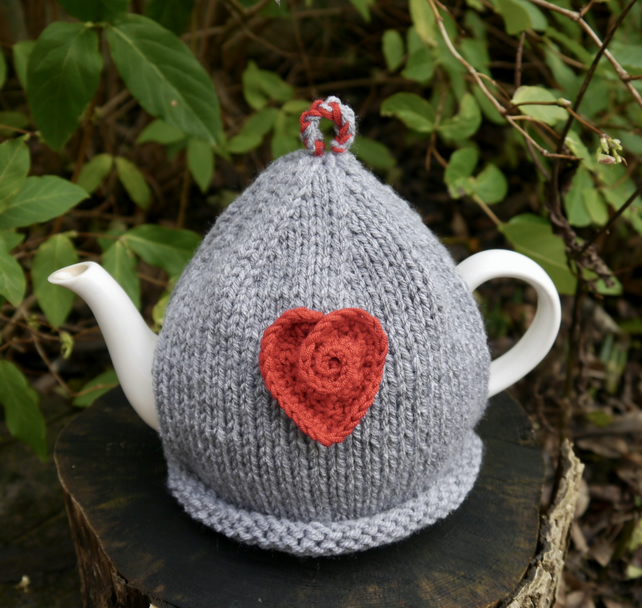 Grey Tea Cosy With Red Rose Heart