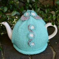 Turquoise Forget-me-not Flower Tea Cosy - FREE UK POSTAGE