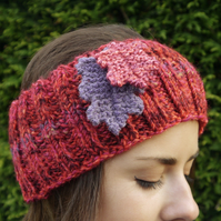 Red Headband with Oak Leaves