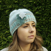 Turquoise Beanie Hat with Oak Leaves