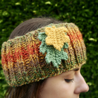 Hand Knitted Headband with Oak Leaves, Autumn Ear Warmers