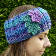 Oak Leaf Headband, Teal and Purple Ear Warmers