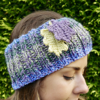 Ribbed Headband with Oak Leaves, Autumn Ear Warmers