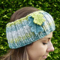 Teal and Lime Ear Warmers, Oak Leaf Headband