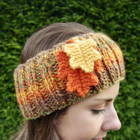 Autumn Headband, Ear Warmers with Oak Leaves