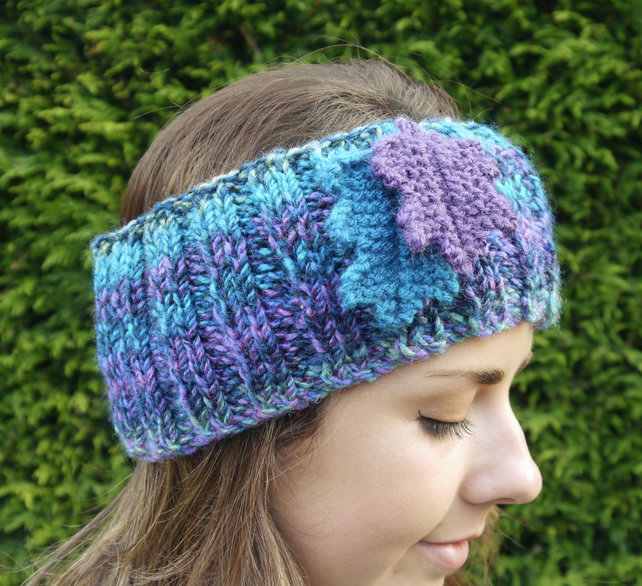 Oak Leaf Headband, Turquoise and Purple Ear Warmers
