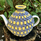 Modern Crochet Tea Cosy, Yellow and Grey Stripes