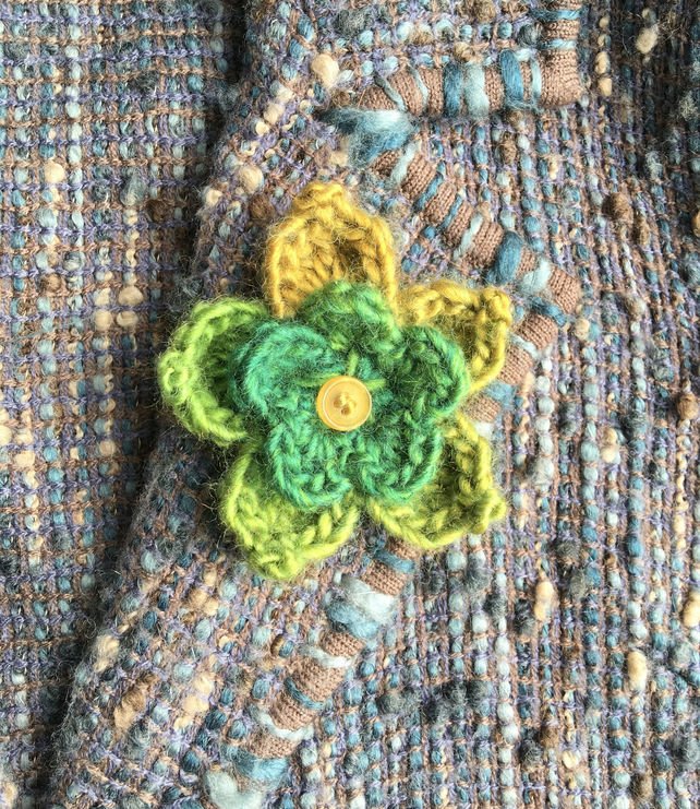 Green Crochet Flower Brooch