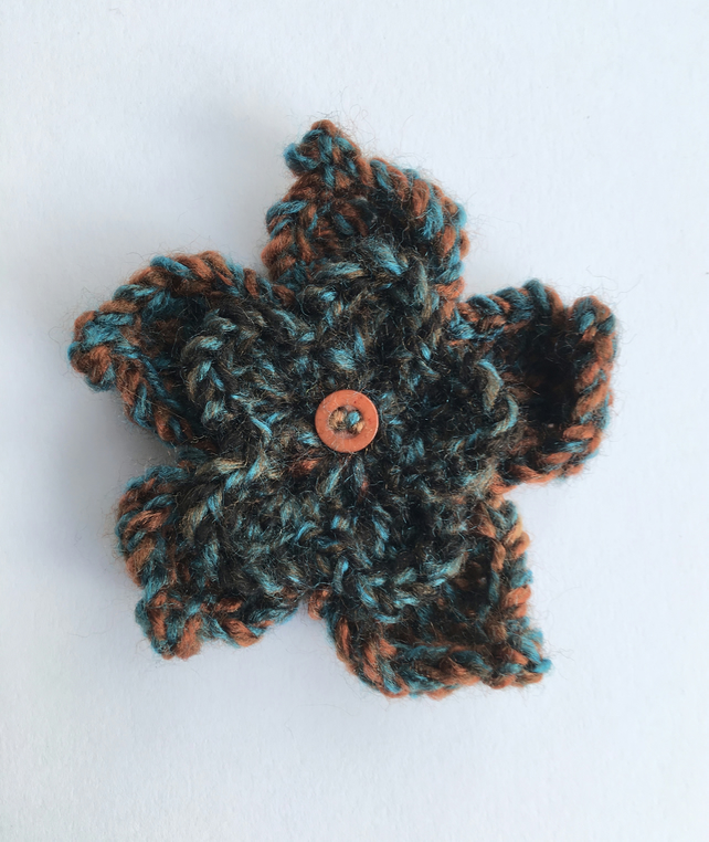 Crochet Flower Brooch, Brown and Teal, Corsage