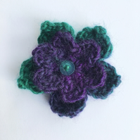 Purple Flower Crochet Brooch