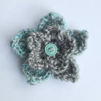 Turquoise and Grey Brooch, Crochet Flower Brooch