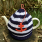 Nautical Anchor Tea Cosy, Navy and White Stripe Teapot Cosy
