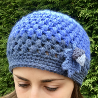 Crochet Beanie Hat With Oak Leaf and Acorn, Ladies Blue Hat