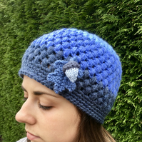 SALE - Crochet Beanie Hat With Oak Leaf and Acorn, Ladies Blue Hat